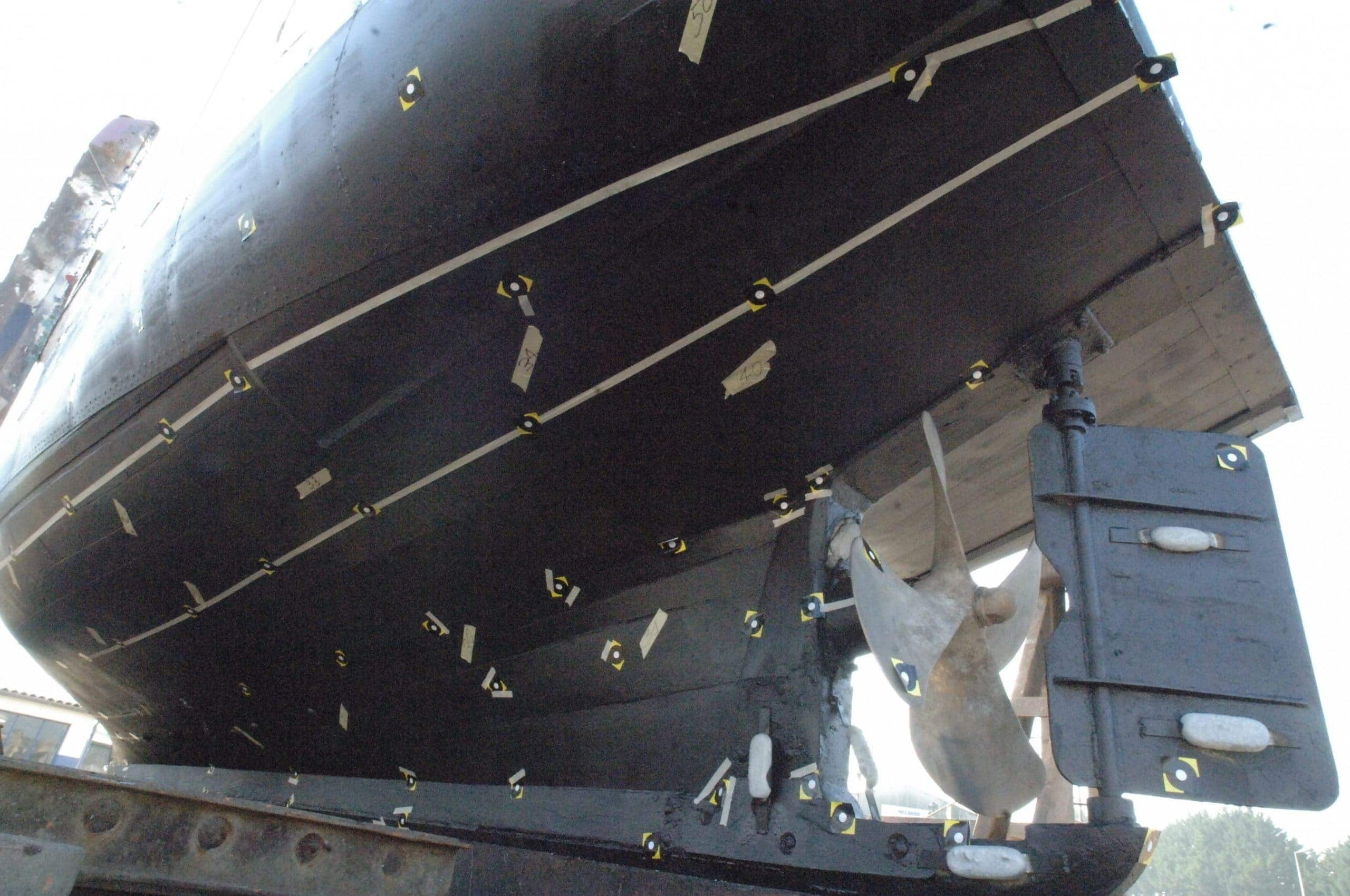 boat hull with targets