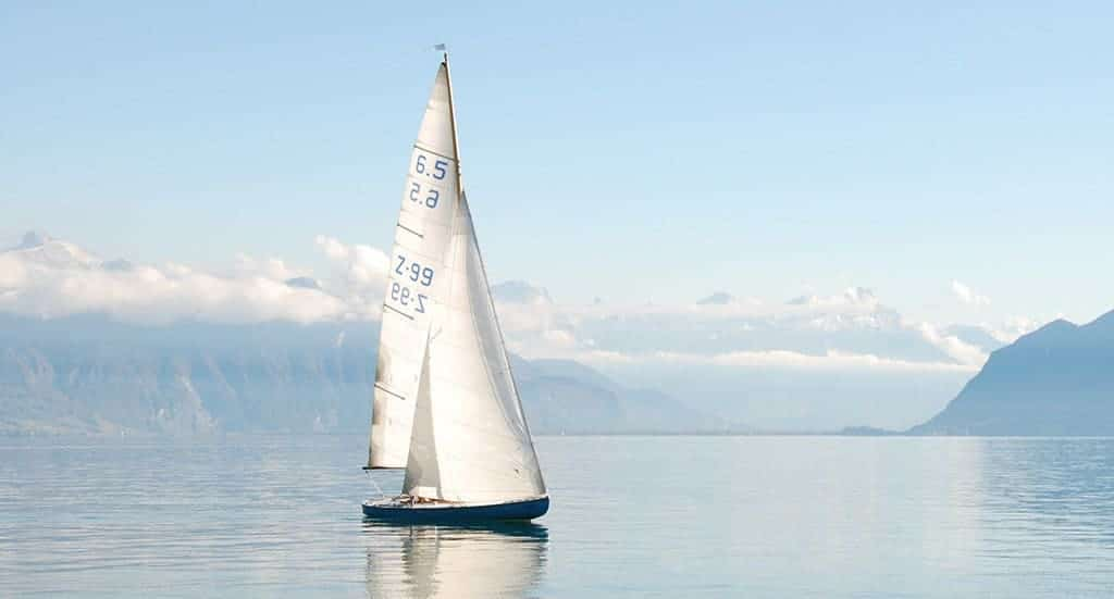 sail boat with sails up