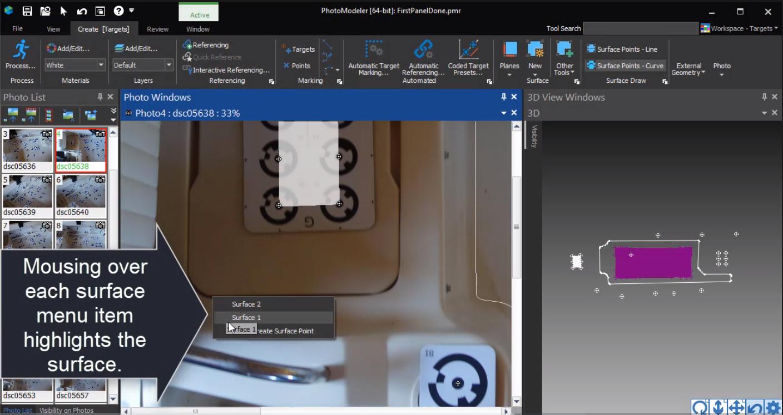 PhotoModeler 2021.1 New Surface Selection Menu