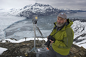Dr. Tad Pfeffer using photogrammetry at the Columbia Glacier